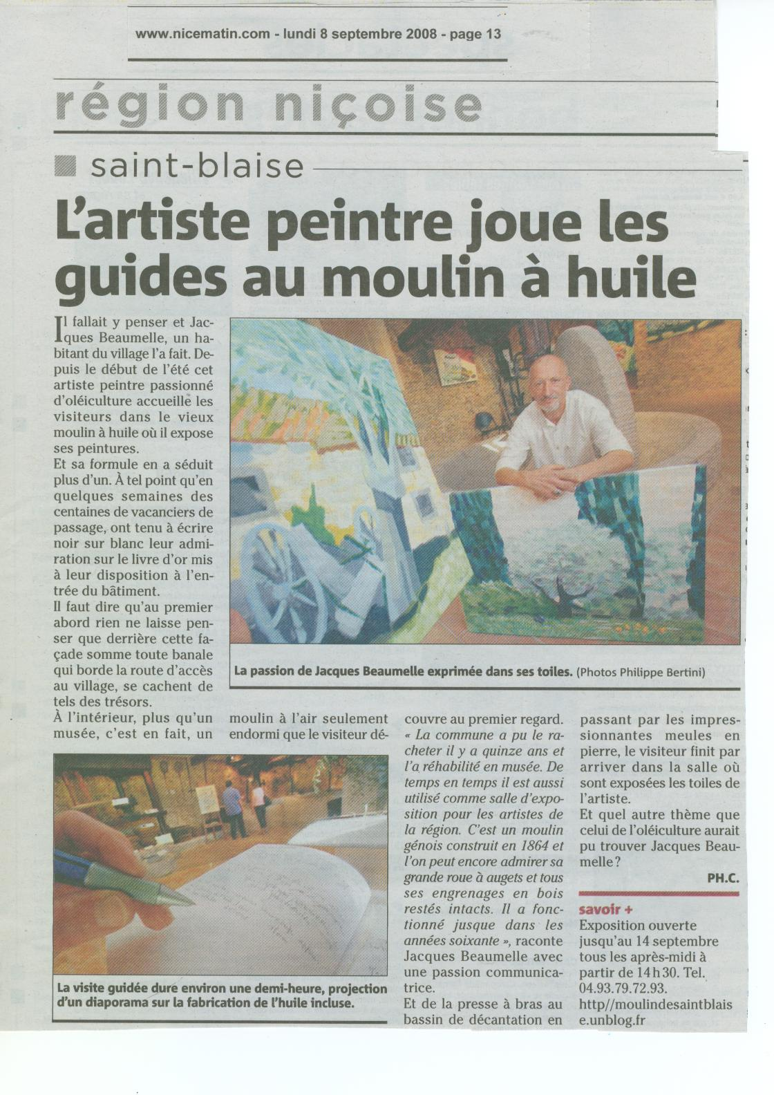 REPORTAGE DE NICE MATIN 08-09-2008