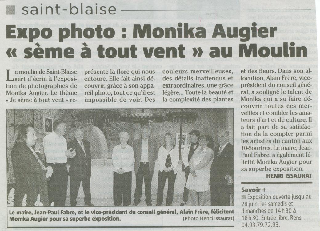Article de Nice Matin Vernissage Monika Augier 2009