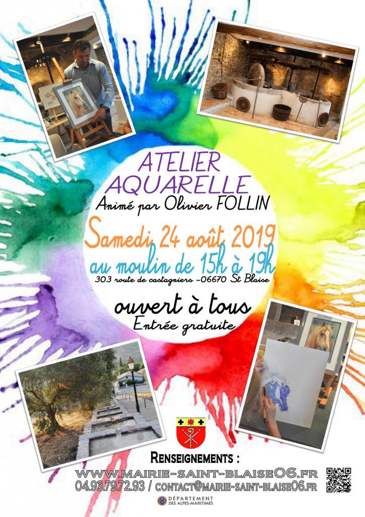 affiche atelier aquarelle 2019